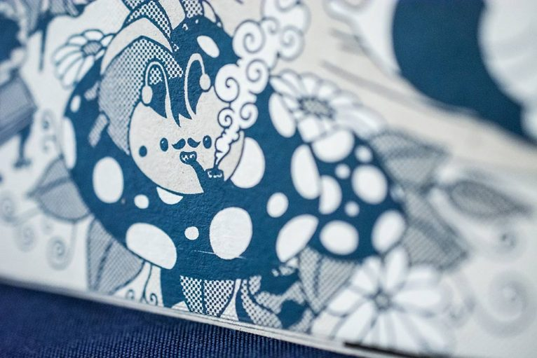 Serigraph printing detail of Alice Adventures in Wonderland illustration