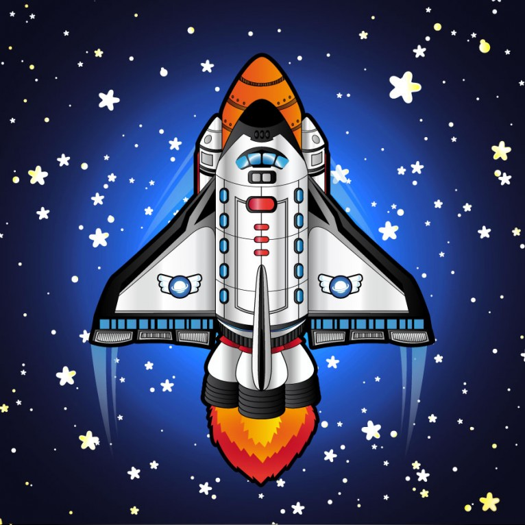 This is a collection of cartoon space shuttle and rockets designed by TheToonPlanet