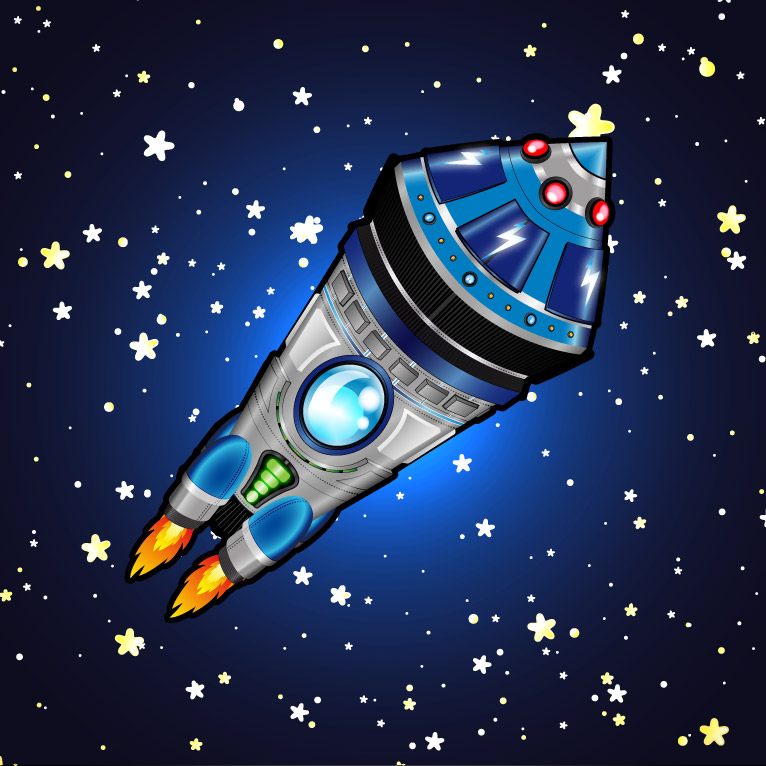 Space shuttle and rockets vector illustration