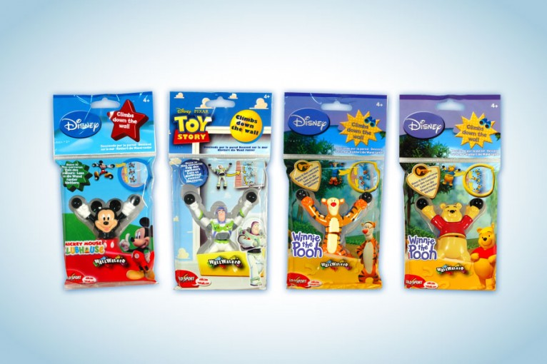 Packaging and logo for Wallwalker toy product designed with the characters of Disney / Pixar
