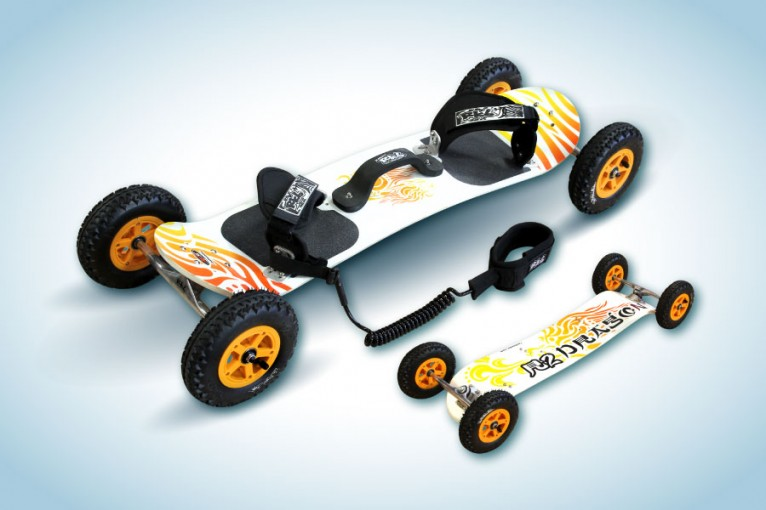 This is a R2 RKB mountainboard of Radsails, the illustration represents a dragon head, designed by TheToonPlanet