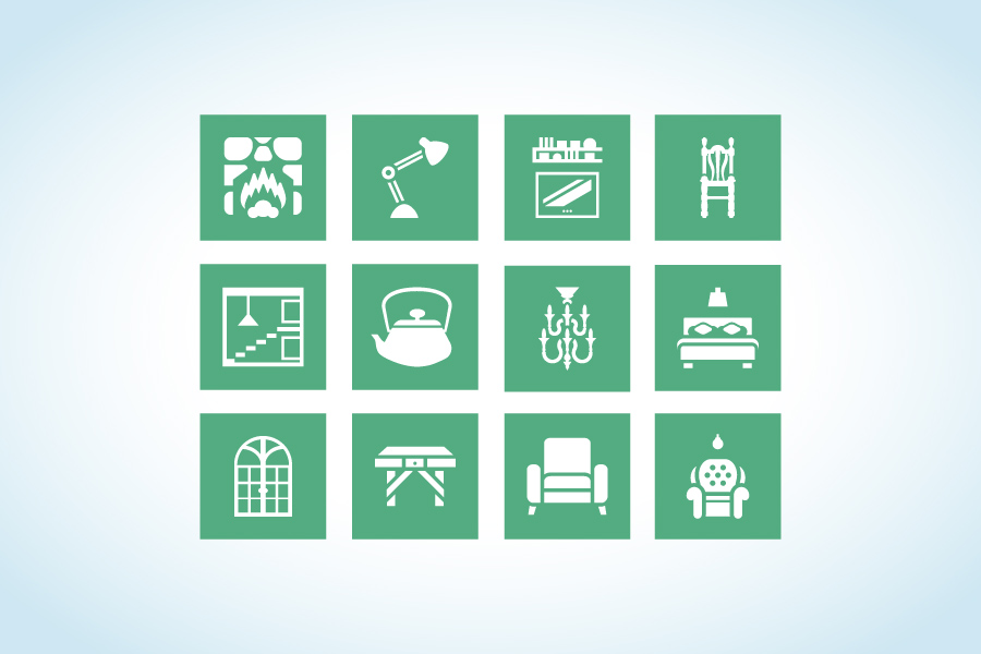 Interior design and furnitures icon set