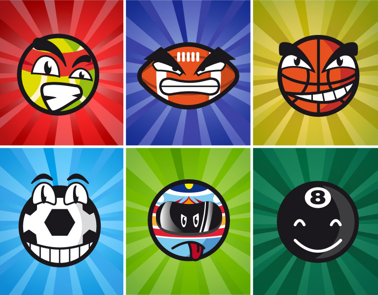 Sport Balls Cartoon Characters