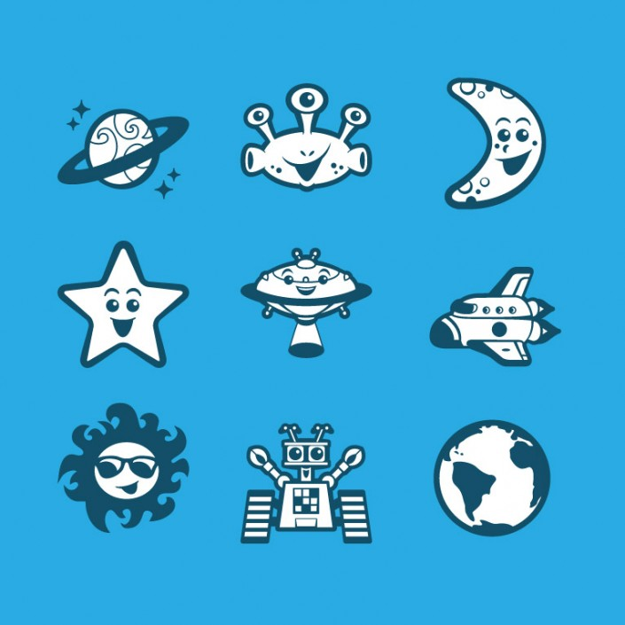 Space vector avatar design icon set