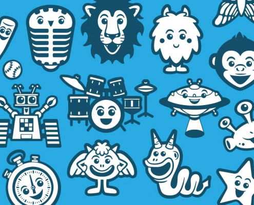 Vector avatar design & icons for children learning platform