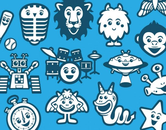 Vector avatar design & icons for children learning platform