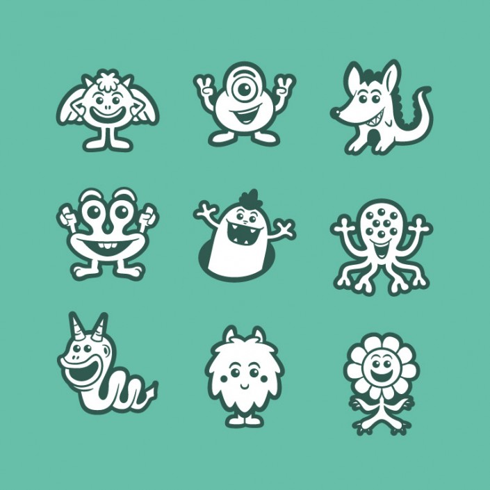 Monsters vector avatar design icon set