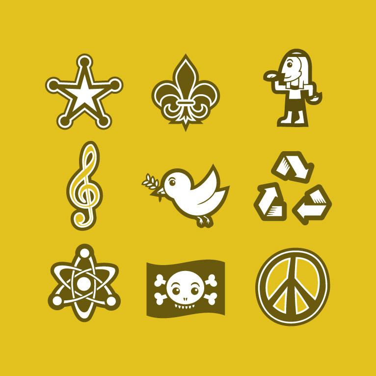 Universal symbols vector avatar design icon set