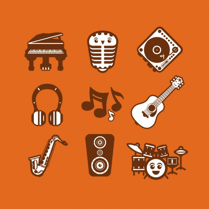 Music vector avatar design icon set