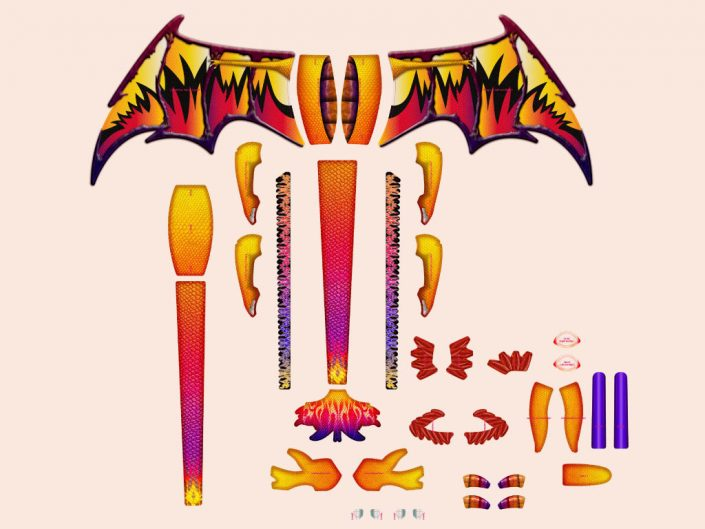 3d popup dragon kite graphic design artwork