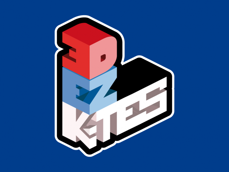 This logo is designed for 3D Ez kites, a range of pop-up kites of Eolo-Sport, a toy company based in Gijón, Asturias, Spain.