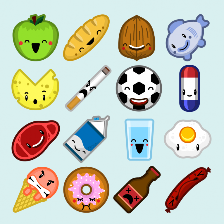 Character design for food icons