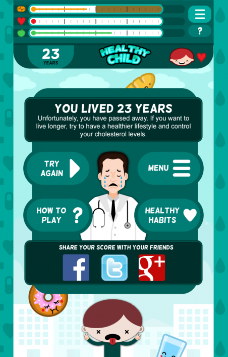 Healthy Child Game over screen design