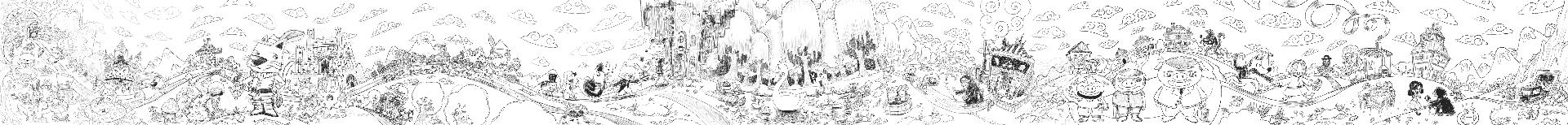 Panoramic digital sketch drawing of Wondertales form Neverland