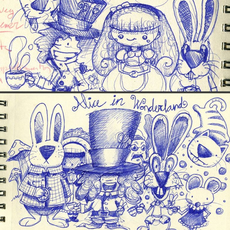 Alice adventures in Wonderland pen sketch