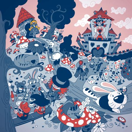 Alice adventures in Wonderland Vector Illustration