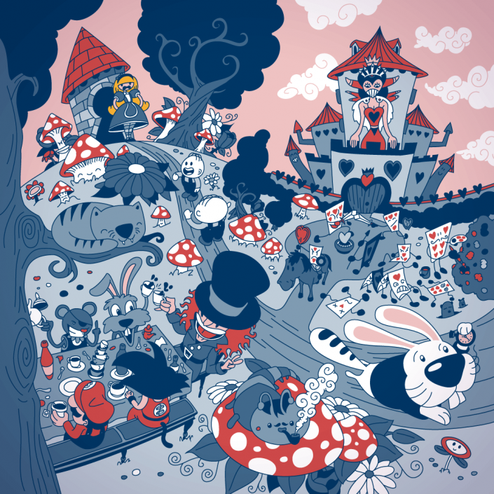 Alice adventures in Wonderland Vector Illustration