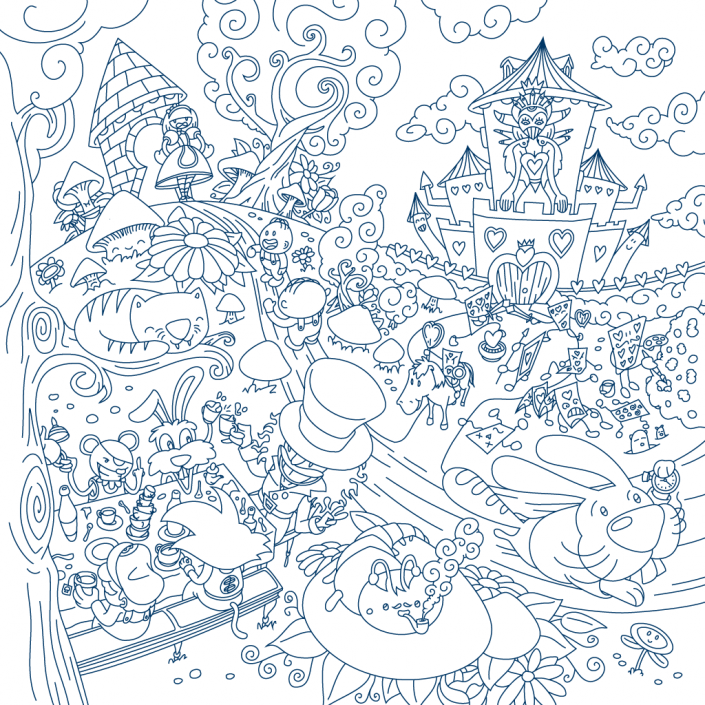 Alice adventures in Wonderland vector line art