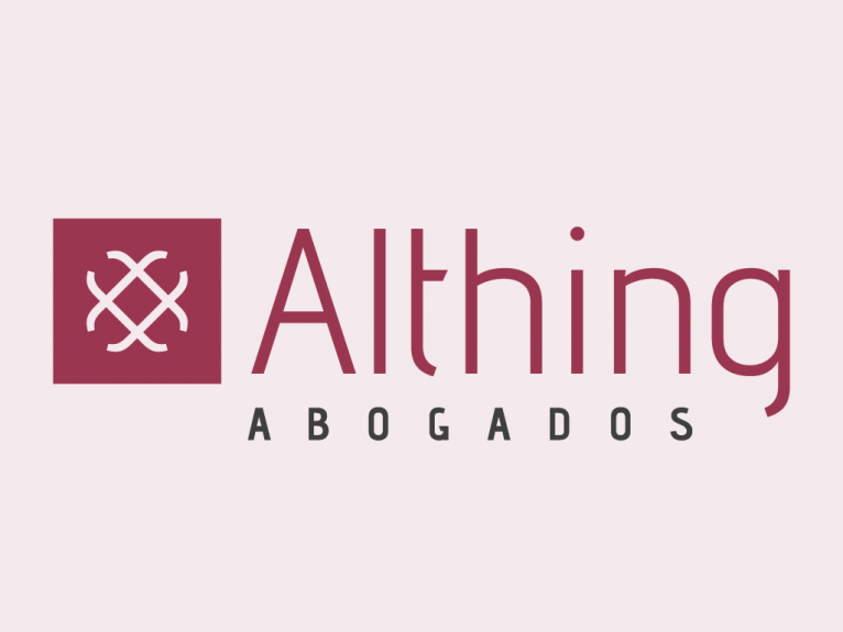 This logo is designed for Althing Abogados, a law firm in the center of Madrid, Spain.