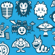 Icon set and avatar vector design