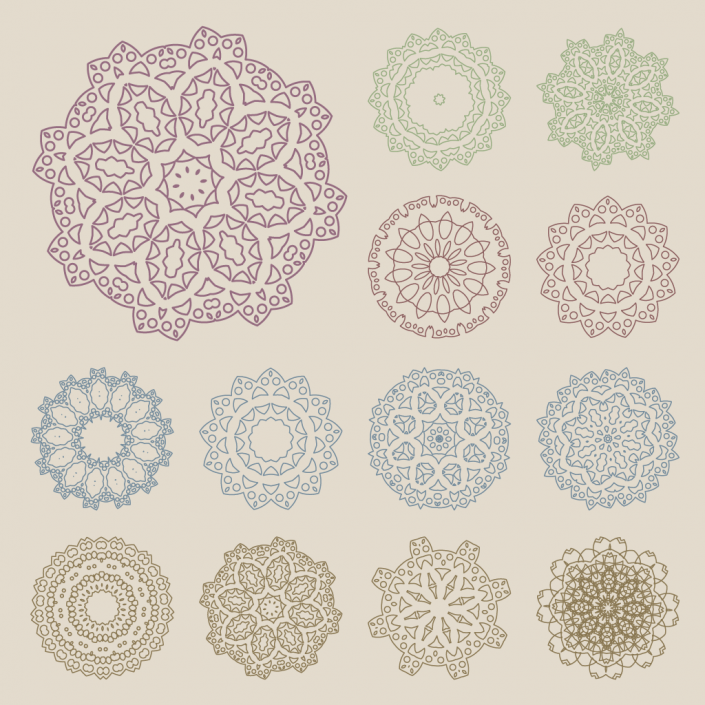 Vector retro mandala icon set design