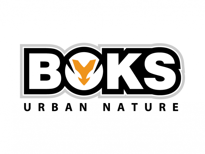This logo is designed for Boks, an urban and trendy clothing brand