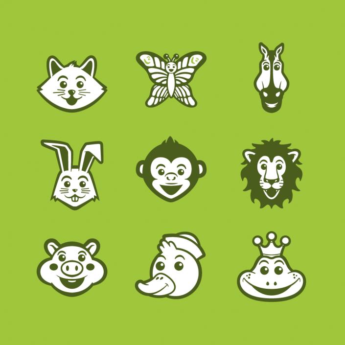 Vector cartoon animals avatars icon set design