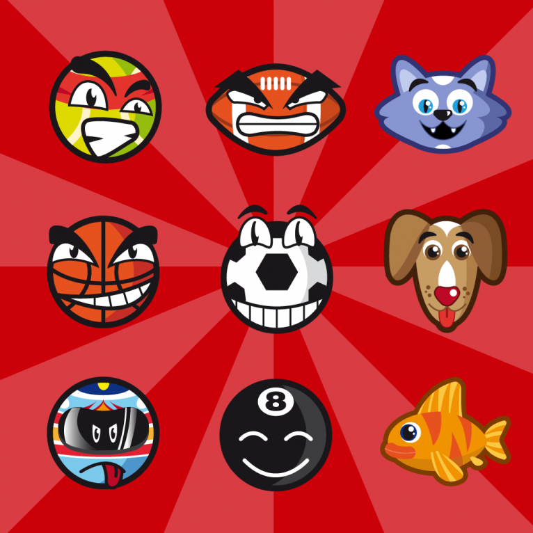 Vector sport characters icon set design