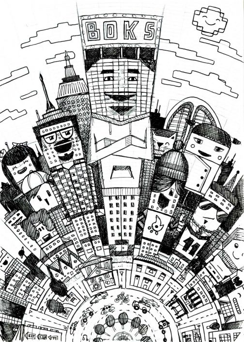 Cartoon city illustration pencil sketch