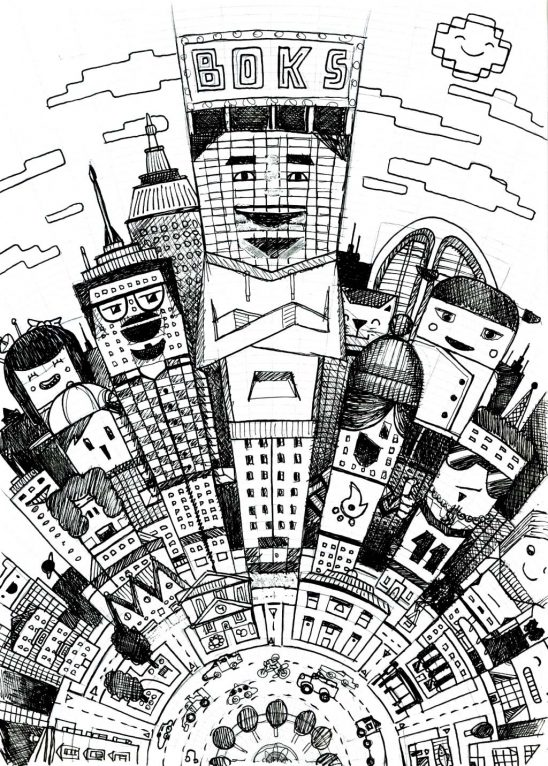 Cartoon city illustration pencil sketch