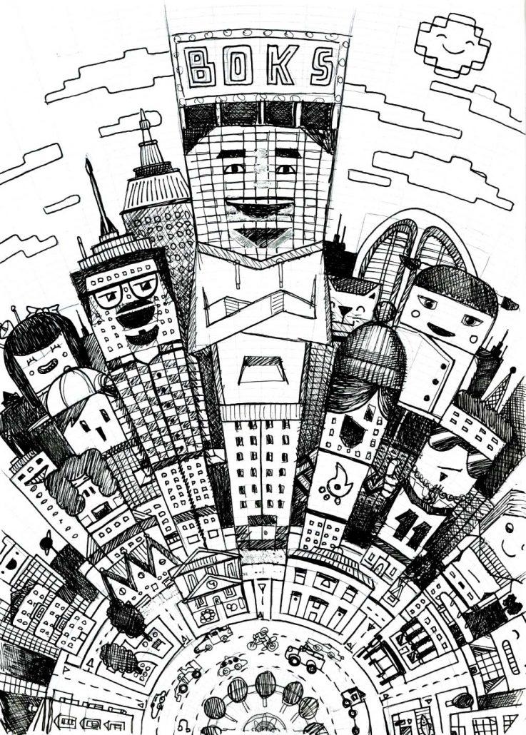 Vector Cartoon city illustration for Boks clothing, TheToonPlanet