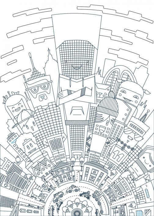 Cartoon city vector illustration line art