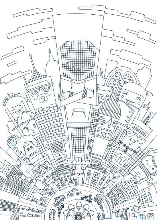 Cartoon city vector illustration line art