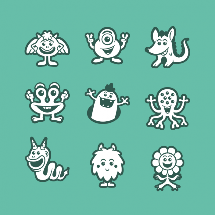 Vector cartoon monster avatars icon set design