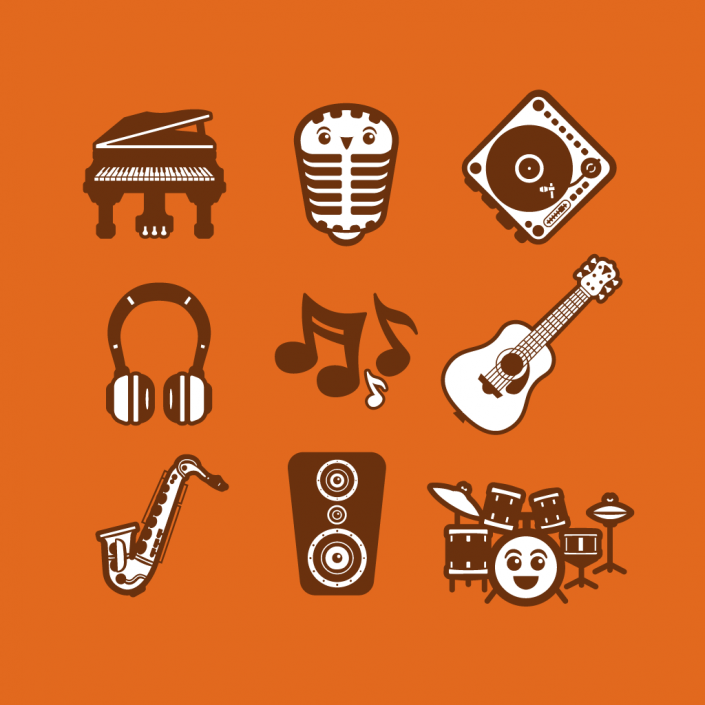 Vector cartoon music avatars icon set design
