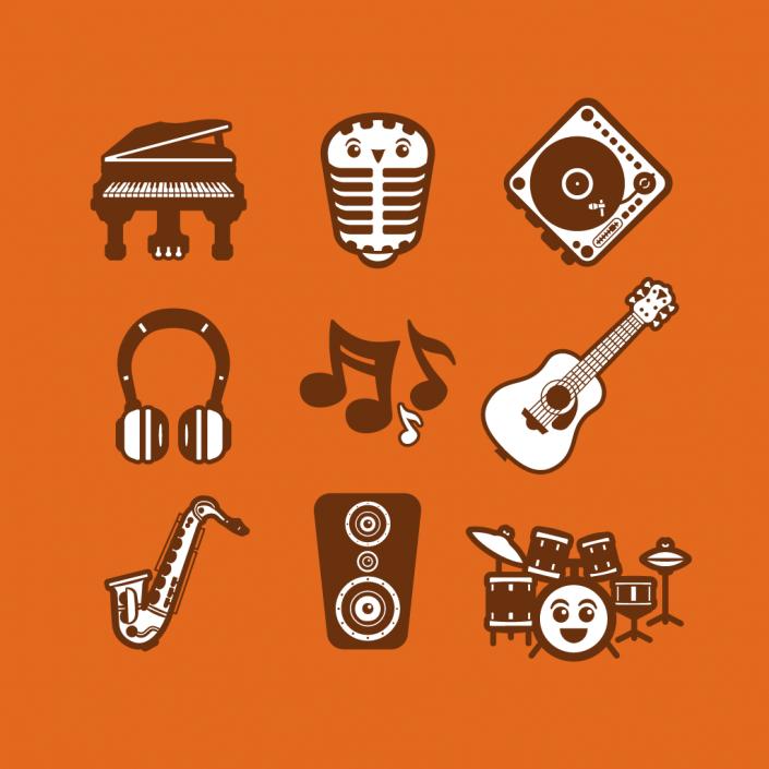 Vector cartoon music avatars icon set design