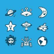 Vector cartoon space avatar icon set design