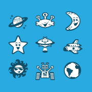 Vector cartoon space avatar icon set design