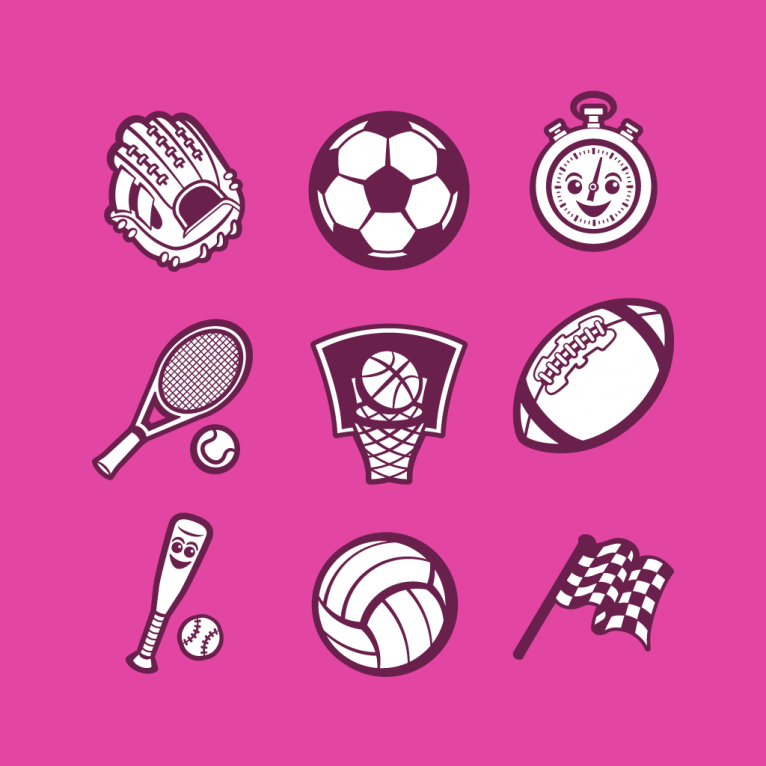 Vector cartoon sport avatar icon set design