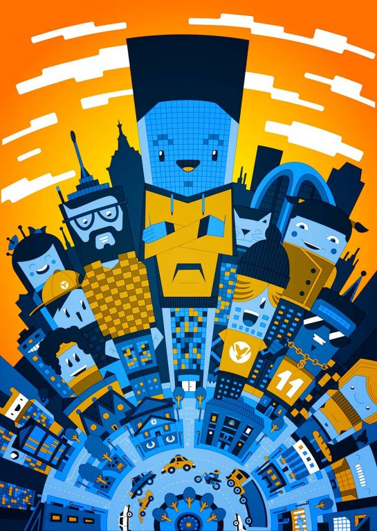 Vector character city buildings illustration artwork