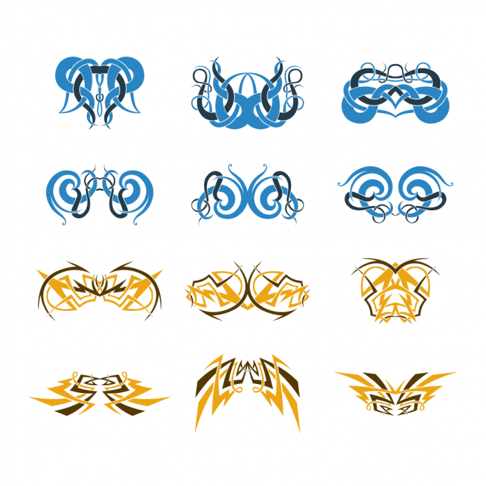 Vector celtic knotwork ornaments icon set design