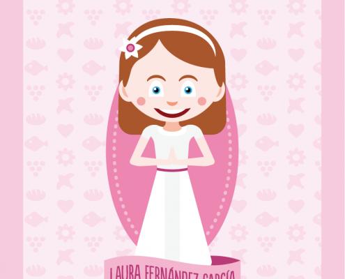 Tarjeta de comunión divertida, diseño e ilustración de retrato