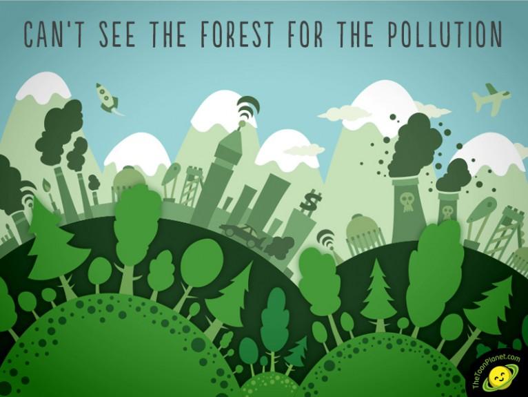 Ilustración vectorial ecología ciudad y contaminación