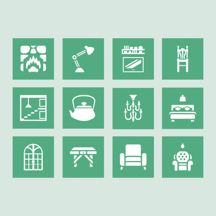Vector decoration furniture icon set design