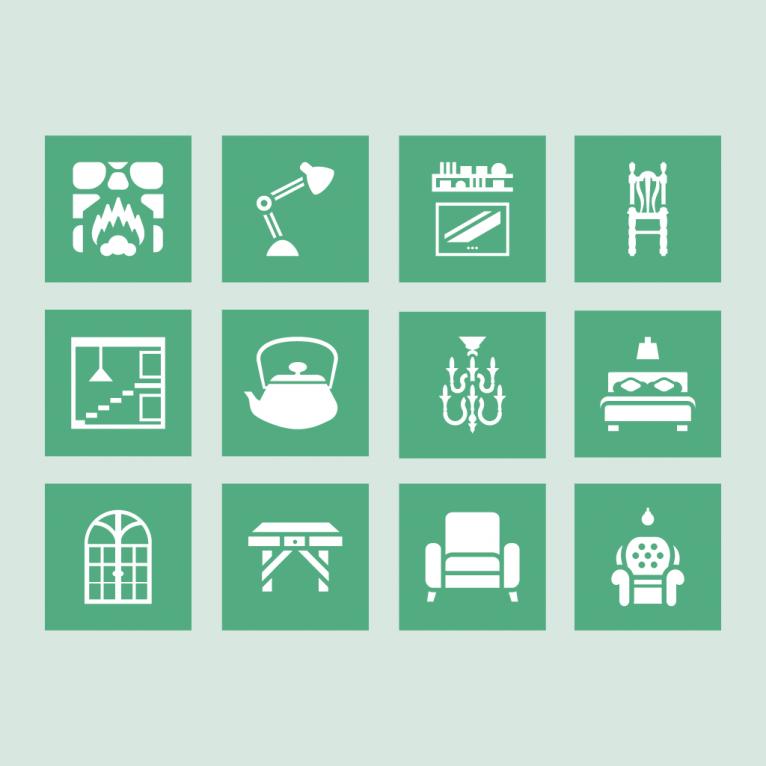 Vector decoration furniture icon set design