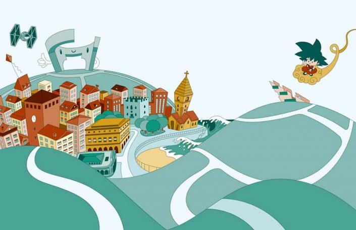 Gijon city cartoon vector digital illustration
