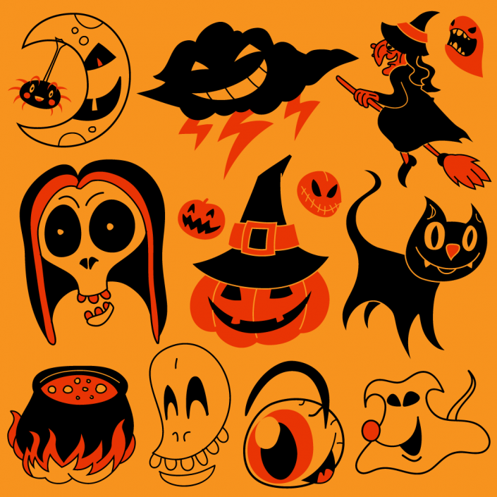 Vector halloween characters icon set design