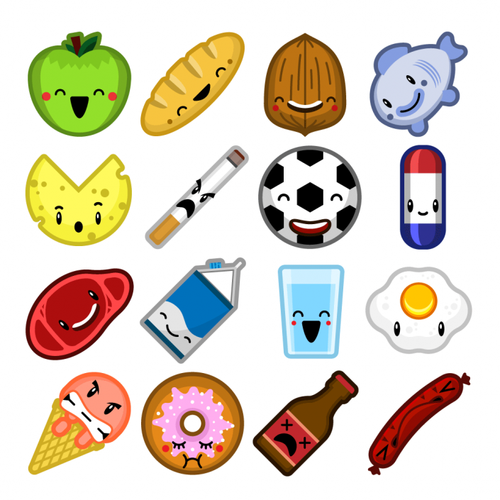 Vector cartoon food sprites icon set design
