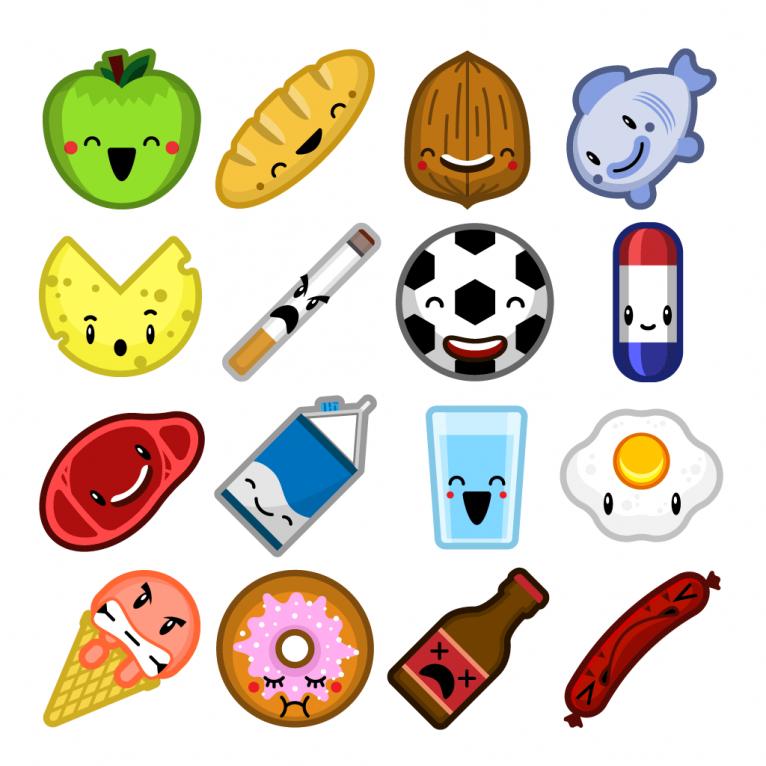 Vector cartoon food sprites icon set design