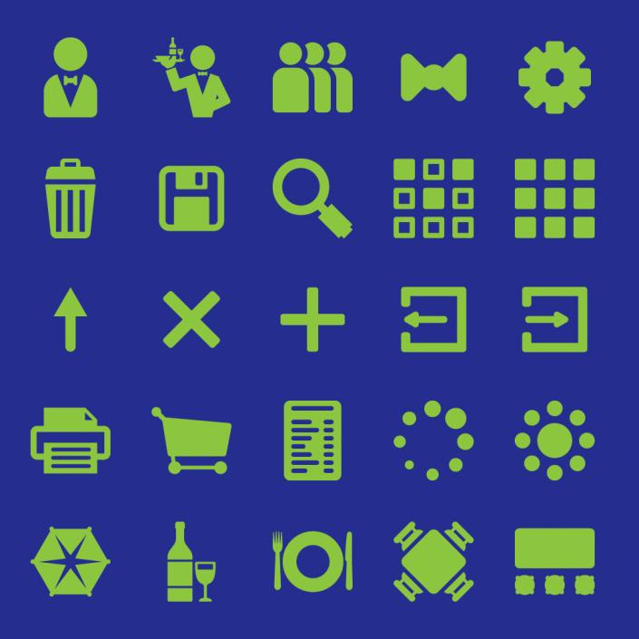 Vector hostelry app ui icon set design
